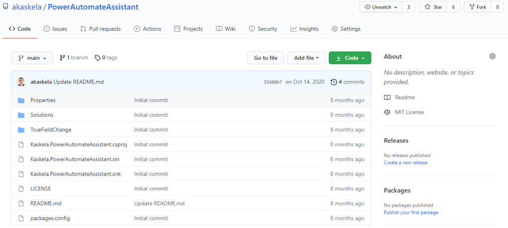 Screenshot of Power Automate Assistant on GitHub